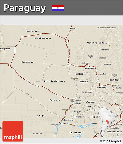 Shaded Relief 3D Map of Paraguay