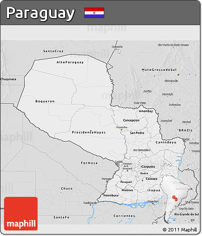 Silver Style 3D Map of Paraguay