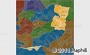 Political Shades 3D Map of Alto Parana, darken