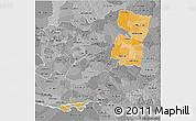 Political Shades 3D Map of Alto Parana, desaturated