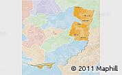 Political Shades 3D Map of Alto Parana, lighten