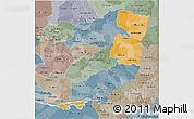 Political Shades 3D Map of Alto Parana, semi-desaturated