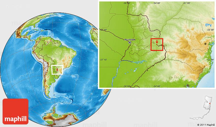 Physical Location Map of Ciudad Del Este