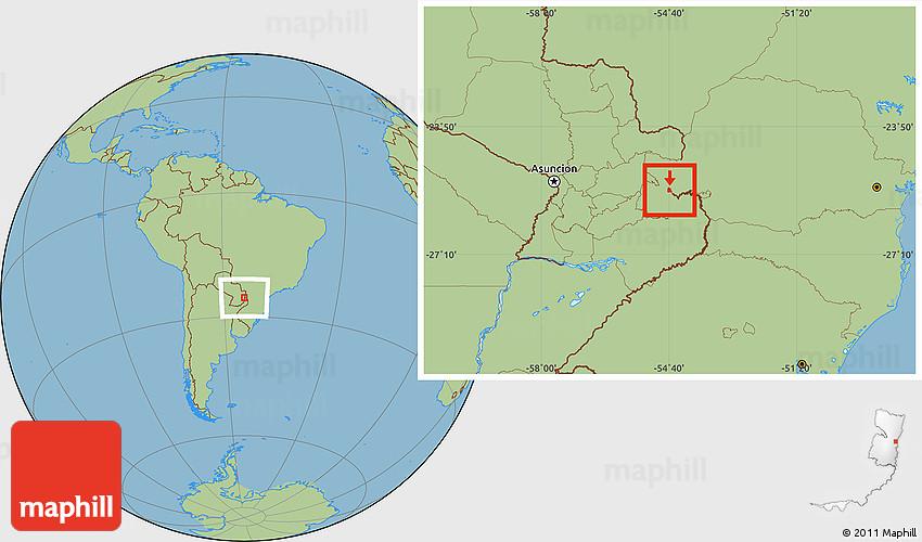 Savanna Style Location Map of Ciudad Del Este