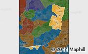 Political Shades Map of Alto Parana, darken