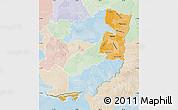 Political Shades Map of Alto Parana, lighten