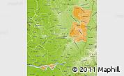 Political Shades Map of Alto Parana, physical outside