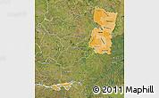 Political Shades Map of Alto Parana, satellite outside