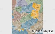 Political Shades Map of Alto Parana, semi-desaturated