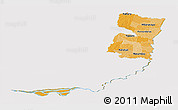Political Shades Panoramic Map of Alto Parana, cropped outside