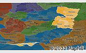 Political Shades Panoramic Map of Alto Parana, darken