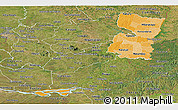 Political Shades Panoramic Map of Alto Parana, satellite outside