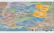 Political Shades Panoramic Map of Alto Parana, semi-desaturated