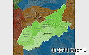 Political Shades Map of Caazapa, darken