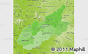 Political Shades Map of Caazapa, physical outside