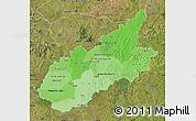 Political Shades Map of Caazapa, satellite outside