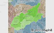 Political Shades Map of Caazapa, semi-desaturated