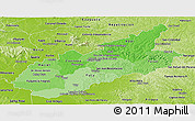 Political Shades Panoramic Map of Caazapa, physical outside