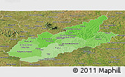 Political Shades Panoramic Map of Caazapa, satellite outside