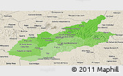 Political Shades Panoramic Map of Caazapa, shaded relief outside
