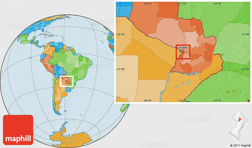 Political Location Map of Capiata