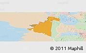 Political Panoramic Map of Villeta, lighten