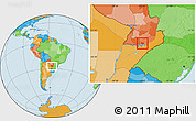 Political Location Map of Coronel Bogado