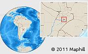 Shaded Relief Location Map of Coronel Bogado