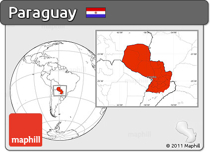Blank Location Map of Paraguay