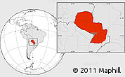 Blank Location Map of Paraguay, highlighted continent