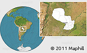 Blank Location Map of Paraguay, satellite outside