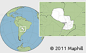 Blank Location Map of Paraguay, savanna style outside