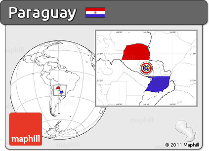 Flag Location Map of Paraguay, blank outside