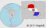 Flag Location Map of Paraguay, gray outside