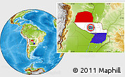 Flag Location Map of Paraguay, physical outside