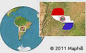 Flag Location Map of Paraguay, satellite outside