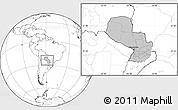 Gray Location Map of Paraguay, blank outside
