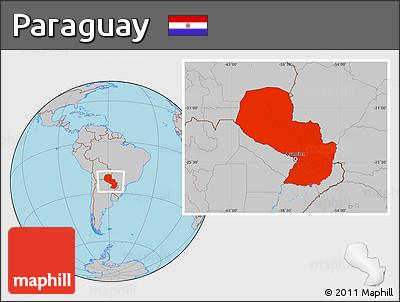 Gray Location Map of Paraguay