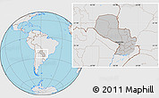 Gray Location Map of Paraguay, lighten, desaturated, land only