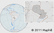 Gray Location Map of Paraguay, lighten, hill shading