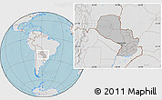 Gray Location Map of Paraguay, lighten, land only, hill shading