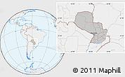 Gray Location Map of Paraguay, lighten