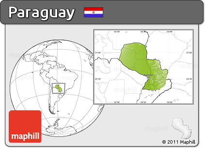 Physical Location Map of Paraguay, blank outside