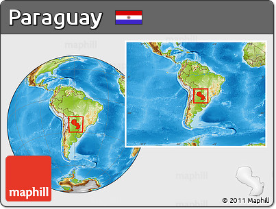 Physical Location Map of Paraguay, within the entire continent
