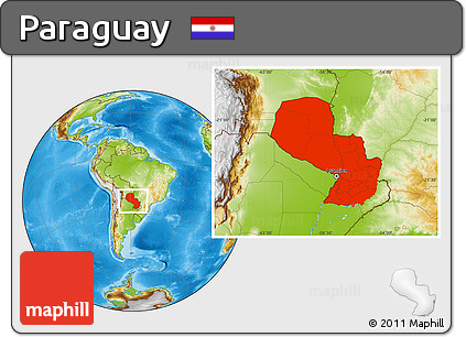 Physical Location Map of Paraguay