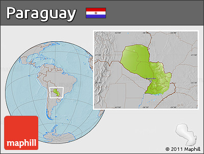 Physical Location Map of Paraguay, gray outside, hill shading