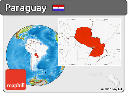 Physical Location Map of Paraguay, highlighted continent