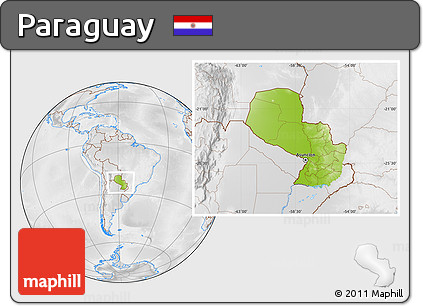 Physical Location Map of Paraguay, lighten, desaturated