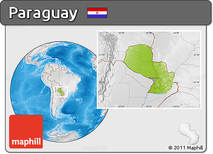 Physical Location Map of Paraguay, lighten, desaturated, land only