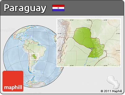 Physical Location Map of Paraguay, lighten